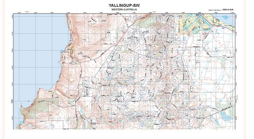 Detailed topographic map of Yallingup, WA