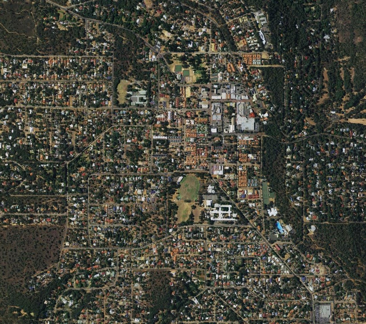 Aerial imagery of the suburb of Kalamunda