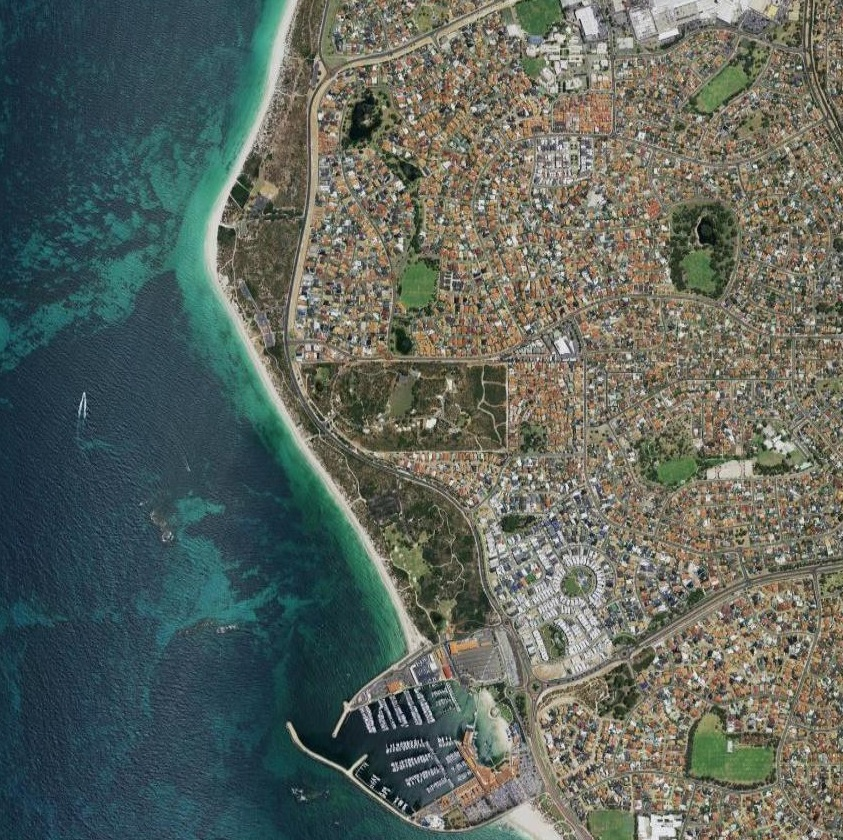 Aerial imagery of the suburb of Hillarys