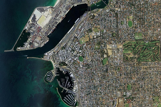 Aerial photograph of the suburb of Fremantle