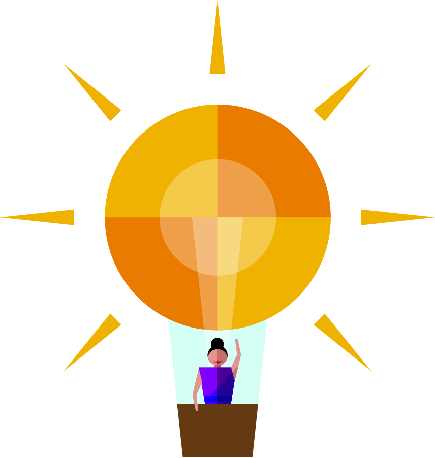 Innovate and achieve value is a woman in a hot air balloon. The balloon is the sun.