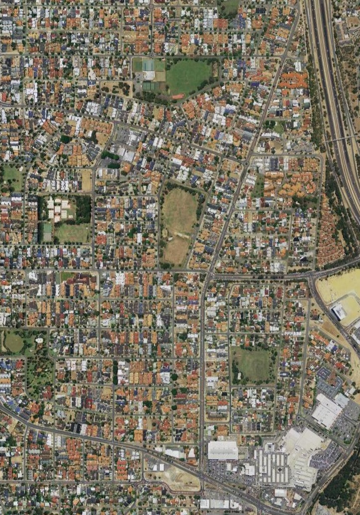 Aerial imagery of the suburb of Innaloo