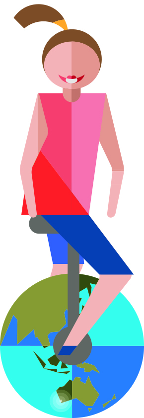 Dynamic and engaged value shows a girl ride a unicycle. The wheel is a globe, picturing Australia.