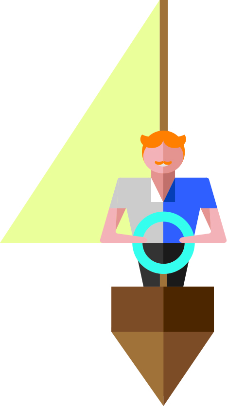 The commit and act value shows a person at the steering wheel of a yacht